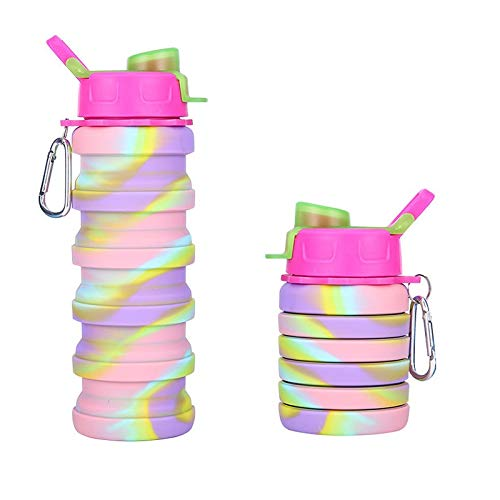 Portable Collapsible Water Bottle, Silicone Water Bottle Camping Mugs, reusable Running Water Bottle Travel Mug - BPA Free Outdoor Sport Gym Water Bottles (B)