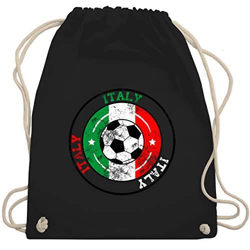 Shirtracer Fußball - Italy Kreis & Fußball Vintage - Unisize - Schwarz - turnbeutel vintage - WM110 - Turnbeutel und Stoffbeutel aus Baumwolle