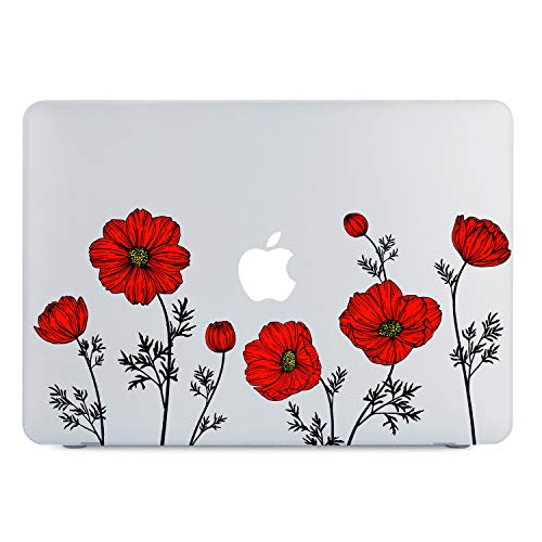 Lapac MacBook Air 13 Inch Clear Case 2020 2019 2018 Release A1932 A2179, Soft Touch Hard Shell Case & Retina Display Fits Touch ID with Keyboard Cover (Red Poppy Flower(A1932/A2179))