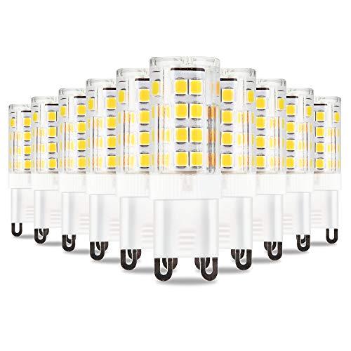 Bombilla LED G9 5W Ahorro De Energía Lampara Equivalente a 40W Bombillas Halógena Base De Cerámica No Regulable 10 Pack