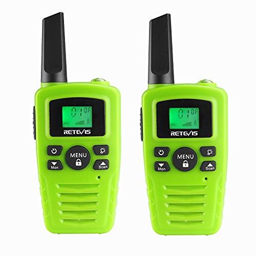 Retevis RA635 Walkie Talkie, PMR446 16 Canales Licencia Libre, Linterna LED, 10 Tonos de Llamada, Walkie-Talkie Larga Distancia, Manos Libres VOX, Walkie Talkies para Niños (Verde, 2 Piezas)