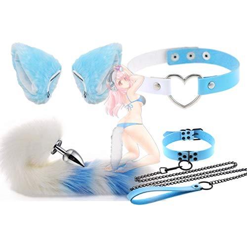 forocean Halloween Anime Carnival Wolf Fox Tl Clip de Orejas y Collar de Campanas Punk Set Disfraz de Fiesta de Lujo Juguetes Lindos Regalo Tamao * M