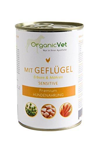 ORGANICVET Hund Nassfutter Sensitive Geflügel mit Erbsen und Möhren, 6er Pack (6 x 400 g)