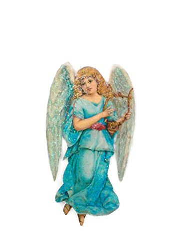 Christmas Tree Ornament Decoration Blue Angel playing Harp