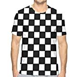 Flying XIE Boys Chequered with Black and White Checkerboard Casual 3D Creative Print T-Shirt Short Sleeve Tees