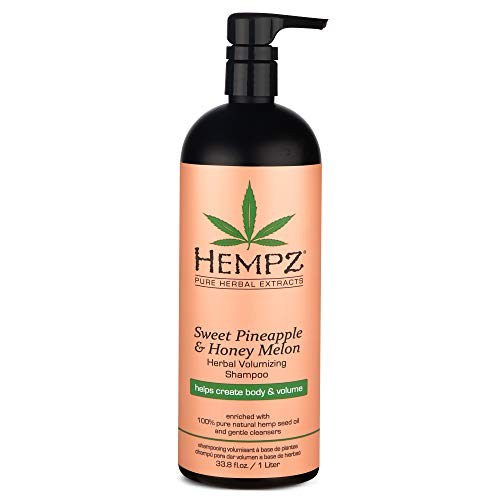 Hempz Sweet Pineapple and Honey Melon Herbal Volumizing Shampoo, 33.8 oz. – Natural Thickening and Repair Product for Women with Color Treated and Fine Hair, Restorative Shampoos with Volume