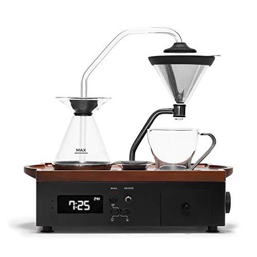 Barisieur Kaffeemaschine mit Timer Funktion | Edles Holz und Glas Design | Kaffee und Tee Zubereitung | Guten Morgen Wecker | Edelstahl Permanentfilter | gekühltes Milchfach | Fach für Löffel