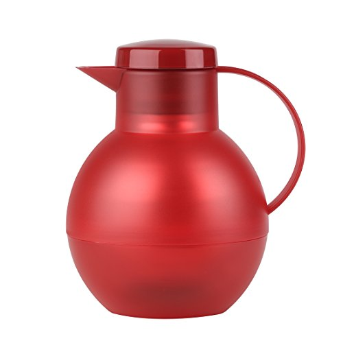 Emsa 509155 Tee-Isolierkanne mit Aroma-Teesieb, 1 Liter, 100% dicht, Transluzent Rot, SOLERA