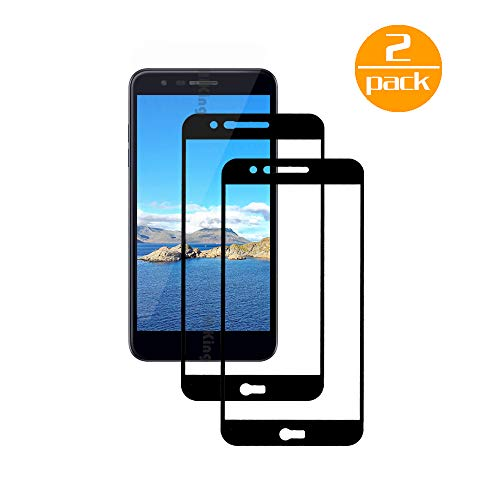 [2 Pack] Für LG K10 2018 Panzerglas Schutzfolie (Schwarz), Bildschirmschutzglas Panzerfolie für LG K10 2018 Schutzglas Folie [Ultra-klar] [9H Festigkeit] [Kristallklar] [Bubble Free]