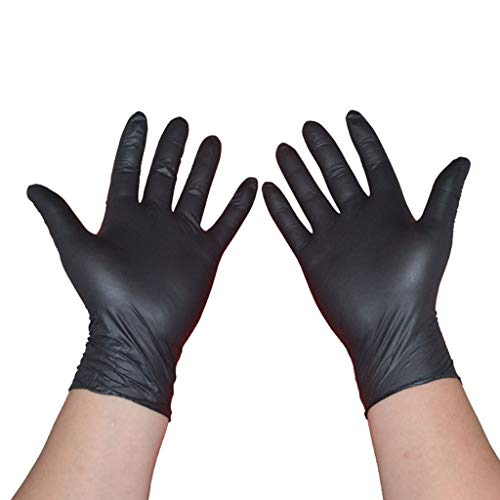 Ningye, guanti da lavoro multiuso in nitrile, guanti neri, Nitrile, Nero , small