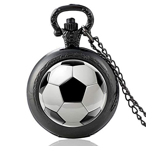 Reloj De Bolsillo para Hombre,Collar De Reloj De Bolsillo con Cadena De Cuarzo Negro De Fútbol De Moda, Colgante con Números Arábigos, Dial para Hombres, Mujeres, Niños, Goft Navideño