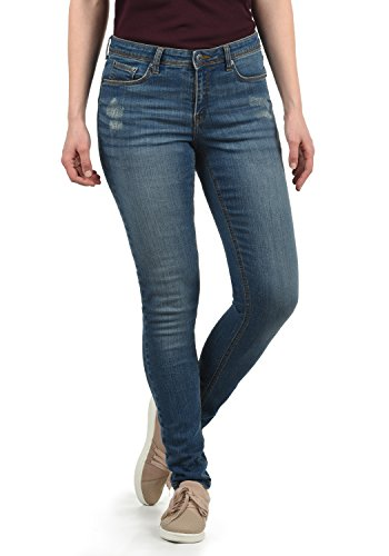 BlendShe Adriana Damen Jeans Denim Hose Röhrenjeans Aus Stretch-Material Mit Destroyed-Look Skinny Fit, Größe:XL, Farbe:Medium Blue Washed (29052)