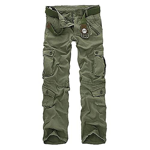 LKHJ Pantalones de Carga Hombres Camuflaje Pantalones de Camuflaje Casual Multi-Bolsillo Ejército Trabajo de Combate Pantalones de Combate Mensajes Militares Pantalones de Carga más Tamaño-A_44