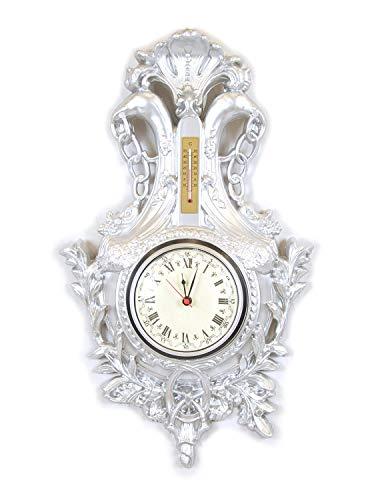 Ideacasa Horloge murale argentée style baroque roco argent imitation vintage Louis XVI