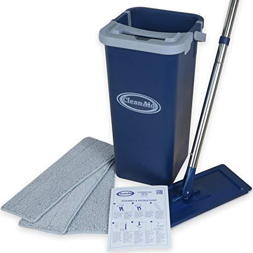 CleanAid Formosa Wischmopp, Extra Langer Edelstahl Stiel, für alle glatten Böden, Touchless Bodenwischer