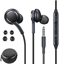 3.5mm Aux Earbuds in Ear Stereo Headphones for Samsung Galaxy S10E S9 S8 S7 S8 J6 J8 A9 Braided Cable Earphones Universal Headphones with Microphone (Black)