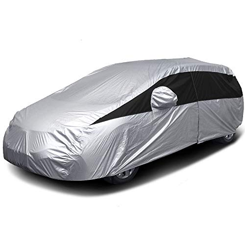 Titan Lightweight Car Cover. Mid-Size Hatchback. Compatible with Toyota Prius, Mazda 3, Ford Focus, and More. Waterproof Cover Measures 181 Inches and Includes a Driver-Side Door Zipper.