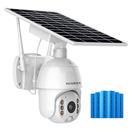 INQMEGA Outdoor PTZ Security Camera with Solar Panel 1080P Waterproof Wireless IP Cam WiFi Pan/Title Camera with Color Night Vision PIR Motion Detection Two-Way Audio Cloud/SD Card Storag