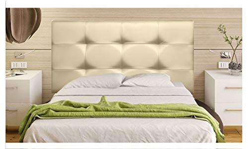 ONEK-DECCO Cabecero tapizado en Polipiel de Dormitorio Tennessee Medidas cabecero de Cama niño, Juvenil y Matrimonio Cabezal Blanco, tapizado, Acolchado (90x70, Dorado)