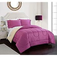 Casa 7-Piece Solid Reversible Comforter Full Size Set With Bonus Sheets