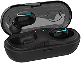 Mini Wireless Earbuds TWS Bluetooth Headset Charging Case, Touch Control V5.0 Stereo Sound Sweatproof Headphones Mic Compatible iPhone iPad Samsung and More(Updated Version)
