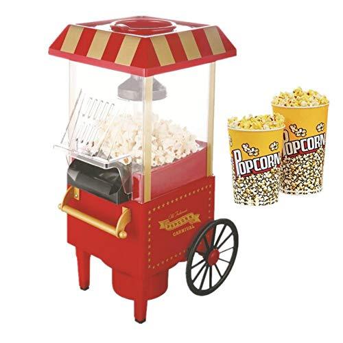 Cxssxling Popcornmaschine 1200W Retro Popcorn Maschine Mini Heißluft Popcorn Maker Elektrische für zu Hause Professioneller Compact Popcorn-Maschinen für Zuhause Fettfrei Ölfrei Einfach zu Bedienen