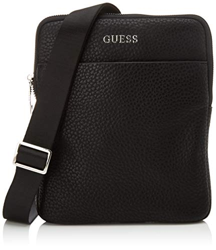 Guess Dan Pu Mini Flat Crossbody Herren, Nero, Taglia Unica
