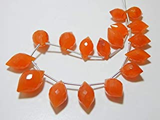 """Jewel Beads Natural Beautiful jewellery Carnelian Micro Faceted Beads Dew Drop Shape 9x16.To 13x21.mm 9""""InchesCode:- JBB-46938"""