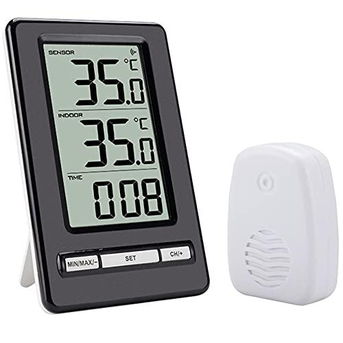 EastMetal EstacióN Meteorológica con Termómetro Digital LCD, Medidor de Temperatura Inalámbrico con Reloj, con Transmisor Inalámbrico Interiores y Exteriores, para el Jardín del Dormitorio del Hogar