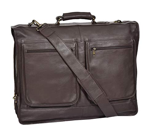 Genuine Leather Suit Garment Dress Carriers Brown Travel Cabin Bag Riga