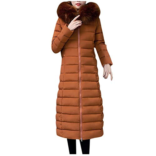 Damen Steppmantel Lang, Damen Wintermantel Lange Elegant Warme Pelzkragen mit Kapuze Baumwolle Mantel Daunenmantel