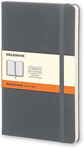 Moleskine Classic Notebook, Hard Cover, Large (5' x 8.25') Ruled/Lined, Slate Grey, 240 Pages