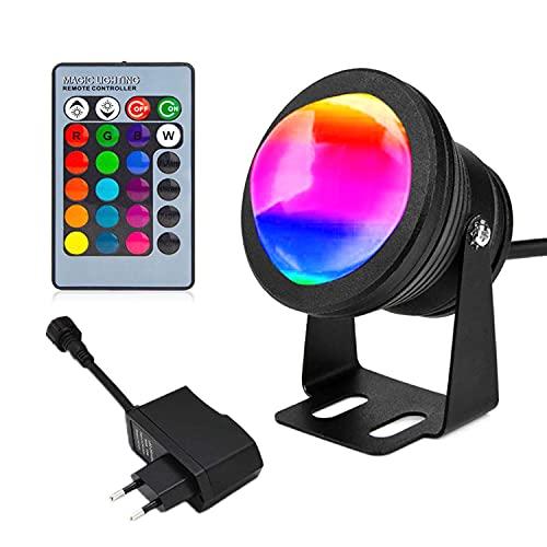 LED strahler,10W led strahler draussen wasserdicht farbig unterwasserlicht 16 Farben ändern sich led fluter,led scheinwerfer mit fernbedienung EU stecker(DC/AC 12V)