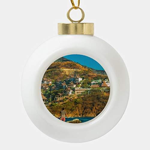 Dom576son Bola de Navidad, Paisaje de la ciudad de Taganga, Bola de cerámica Colombia, adorno de Navidad, irrompible, bolas de árbol para decoración de vacaciones, bodas y fiestas