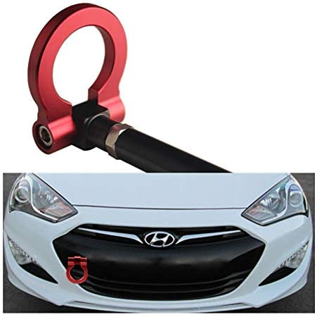 DEWHEL JDM Folding Screw On Racing T2 Tow Hooks Front Rear for 10-16 Hyundai Genesis Coupe Red