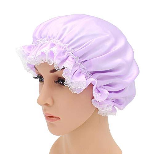 WJH Sleeping Cap pour Les Femmes en Soie Naturelle avec Sommeil Caps Bande élastique pour Cheveux Perte de Sommeil sur la Protection des Cheveux (2 pièces),Violet