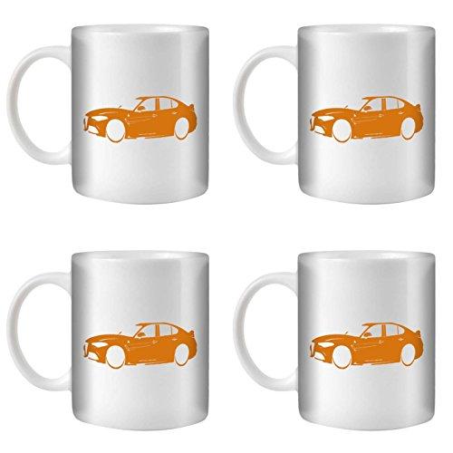 STUFF4 Tee/Kaffee Becher 350ml/4 Pack Orange/Alfa Romeo Giulia/Weißkeramik/ST10
