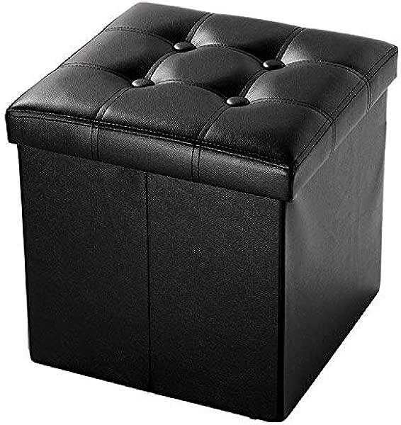 Girlsli 15 Collapsible Storage Ottoman Cube Faux Leather Square Shape Footrest Stool Versatile Storage Box