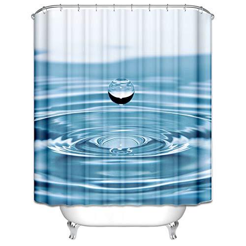 Amody Polyester Duschvorhang 100% Wasserdicht Wassertropfen Duschvorhang Waschmaschine Blau Waschbare Duschvorhang 120x180CM