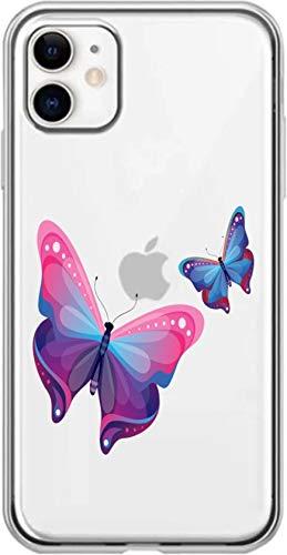 Simar Products - Cover in silicone trasparente per Apple iPhone 11, motivo: farfalle