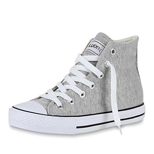 stiefelparadies Sportliche Damen SneakersStoff Camouflage Schnürer Sneaker High Neon Sport Schuhe 43944 Hellgrau Ambler 45 Flandell