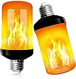 2 Stück Flamme Glühbirne, Swonuk 5W E27 Flammen Lampe Flammen-Effekt-Glühlampen LED mit 4 Beleuchtungs-Modi,Dekorative Retro Innenglühlampen im Freien für Halloween, Weihnachten, Garten-Hochzeitsfest