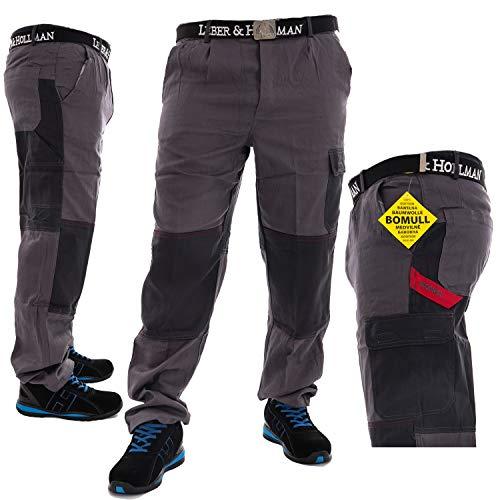 Robuste Arbeitshose für Männer aus 100% Baumwolle in grau, Lange Herren Bundhose mit Kniepolster Taschen Schutzkleidung (Größe 52)