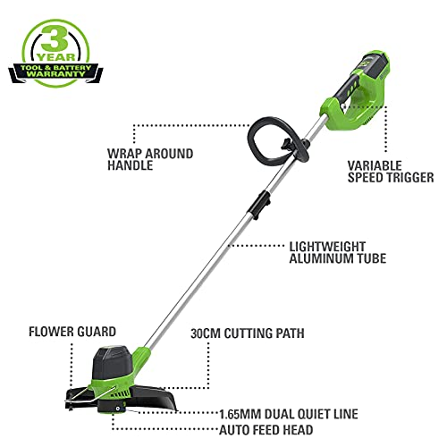 Greenworks cordless string trimmer G40LT (Li-Ion 40V 30cm cutting width 7500 rpm variable speed control automatic thread feed aluminium guide rail flowerguard without battery & charger)