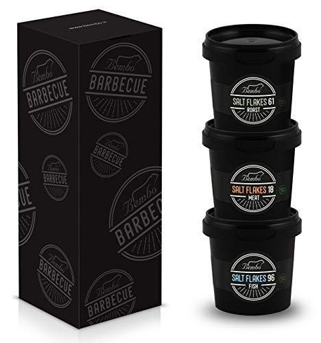 Bembo BBQ - Salt Flakes Pack - Fiocchi di Sale per Barbecue - Fiocchi di Sale Aromatizzati per Griglia, Barbecue e Marinatura - Bembo Barbecue