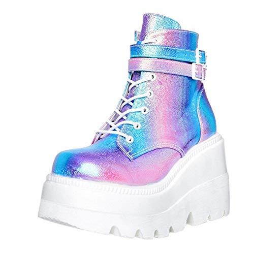 JXILY Señoras de La Plataforma de Alta Botas de Moda Los Tacones Altos Cargadores del Tobillo de Las Mujeres del Partido Acuña Los Zapatos de Tacón Mujer Mujeres Sexy Chunky Heel Boots,Color,39