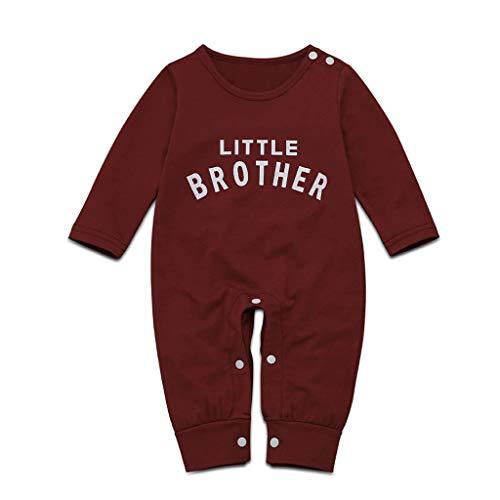 Livoral Baby Winterjacke Neugeborene Babybaby-Buchstabeknopfoveralloverall-Spielkleidung(A-Wein,12-18 Monate)