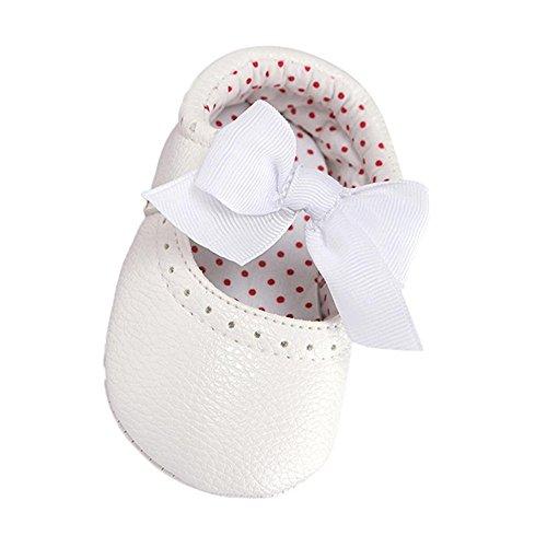 Turnschuhe Babyschuhe Neugeborenen Kleinkind Leder T-Strap Schuhe Sportschuh Jungen Lauflernschuhe Mädchen Krippeschuhe Krabbelschuhe Streifen-beiläufige Wanderschuhe LMMVP (Weiß, 13CM (12~18M))