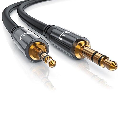 Primewire - 1m Cable Jack 2.5mm a 3.5mm Cable de conexión de Sonido estéreo - Cable Adaptador de Sonido - Enchufe Jack de 2,5 mm para Jack de 3,5 mm