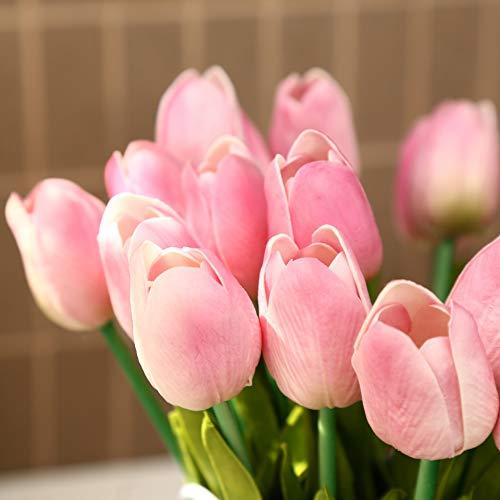 Jun7L - Tulipanes Artificiales de látex, para decoración de Bodas, Habitaciones o hoteles, 10 Unidades, Pink a, 33.5x5cm